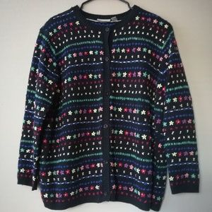 Vtg Nordstrom Button Cardigan Floral Embroidery 2X